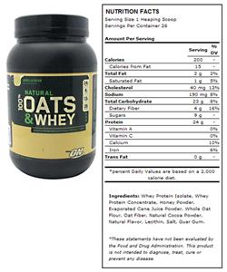 OPTIMUM NUTRITION NATURAL 100% OATS AND WHEY – MILK CHOCOLATE 3 LBS